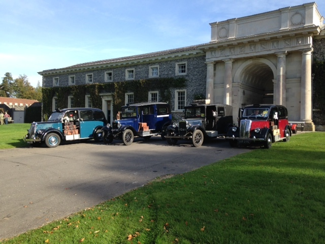Goodwood Revival - two Beardmore MkVIIS and two Austin 12/4 cabs at the Goodwood Hotel