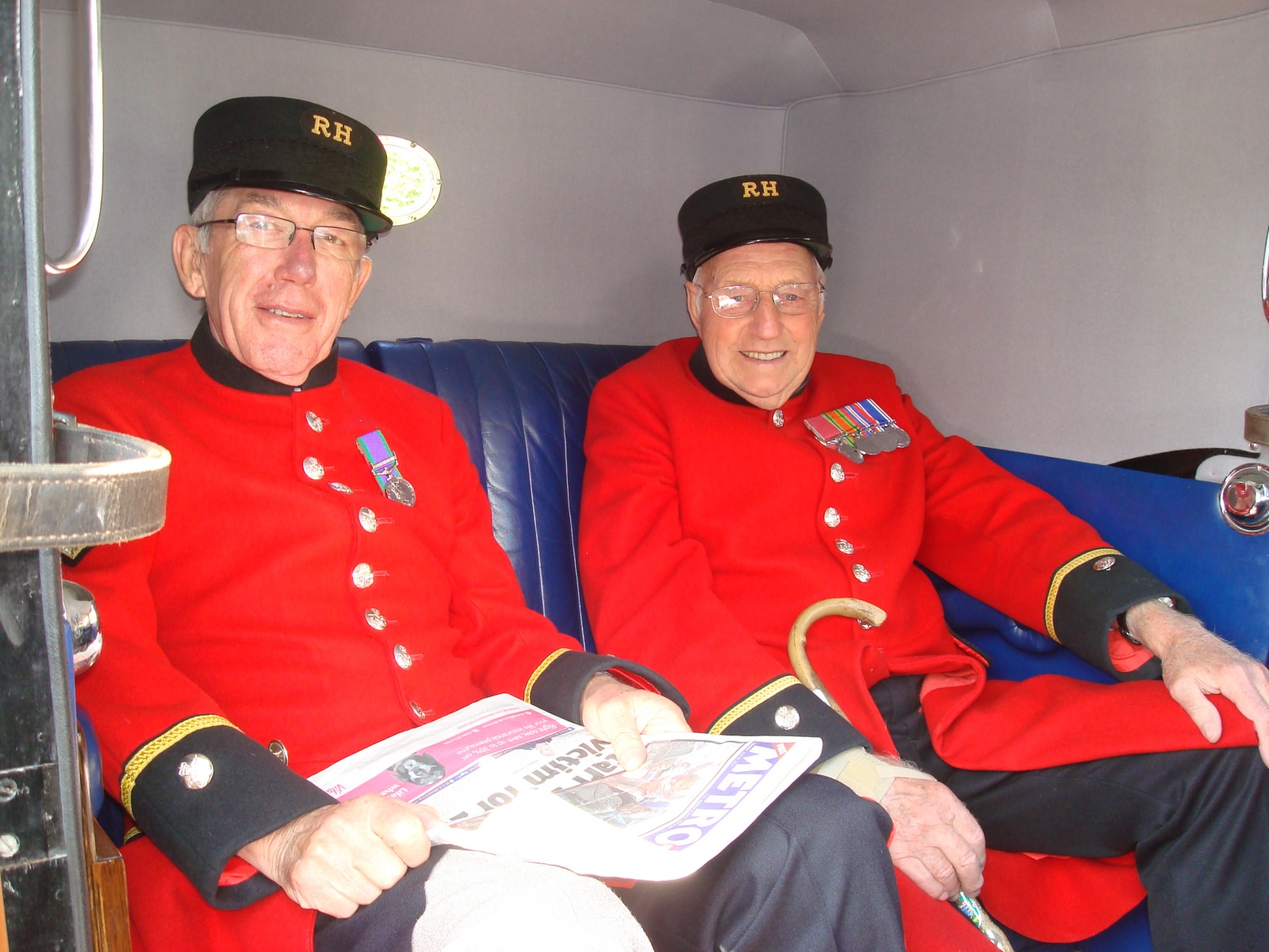 Military Veterans' Trip to Worthing - Chelsea Pensioners, snug in the back of a Low Loader
